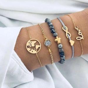 New! 5 Piece Gold Bohemian Multilayer Bracelet Set